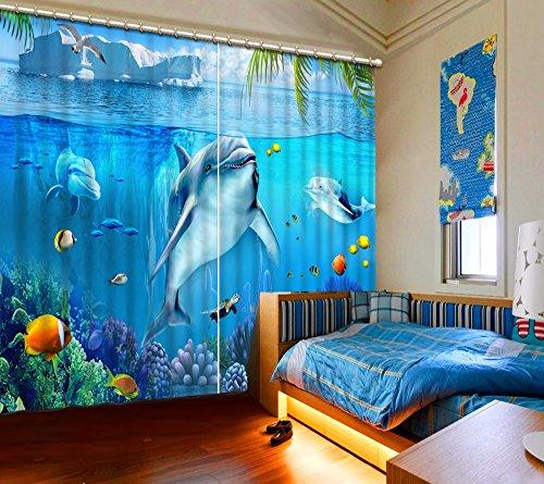 Waple 3D-Vorhänge Vorhänge Für Kinder Schlafzimmer Unterwasserwelt Landschaft Delphine Blaue Vorhänge Für Wohnzimmer Benutzerdefinierte Vorhänge 260X260CM