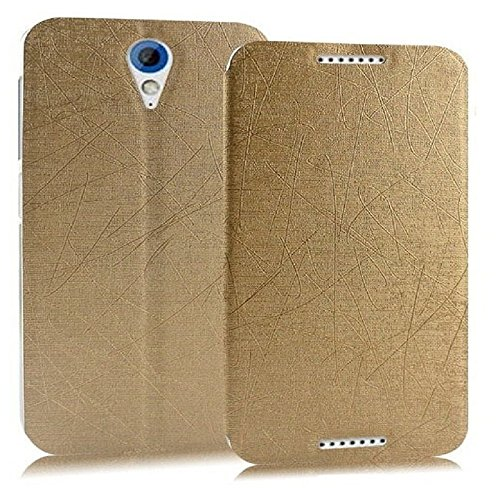 Heartly Premium Luxury PU Leather Flip Stand Back Case Cover For HTC Desire 620 620G 820 Mini Dual Sim - Hot Gold