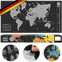 #benehacks® Weltkarte zum Rubbeln in DEUTSCH - Rubbelweltkarte - Landkarte zum Freirubbeln (Farbe Silber / Schwarz 84 x 44 cm, inkl. Geschenkverpackung)