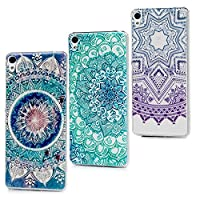 Xperia XA Case, (3 Pieces) Lanveni Sony Xperia XA Ultra-Thin Gel TPU Soft Bumper [Drop Protection] Painting Desgin Cover For Sony F3111 / F3113 / F3115 - five-pointed star + big totem fower + totem