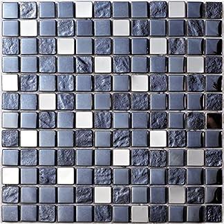 Mosaico de Vidrio en Malla DEC-47082624113, Azul, 8 mm, 30 x 30 cm