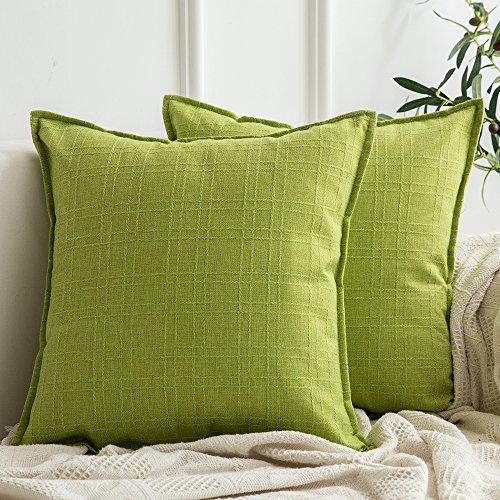 Miulee lino federe cuscini gettare cuscini divano cuscino decorativo per divano letto auto microfibra con cerniera invisibile 18 * 18inch 45 * 45cm 2 pacco verde