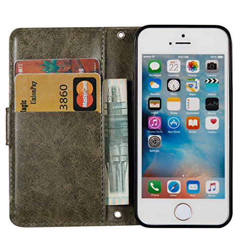 Coque iPhone 5S, iPhone SE Coque Portefeuille, SainCat Ultra Slim Flip Cover pour iPhone 5/5S/SE, Bookstyle Etui en PU Cuir Coque Etui Cuir Anti-Scratch Cover Coque Cuir Coque Caoutchouc Étui Portefeu Gris