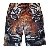 Bluelover S5254 Beach Shorts Board Shorts 3D Tigre Cabeza Impresión Rápida Sequedad Impermeable Elasticidad Buena Sensación - 3XL