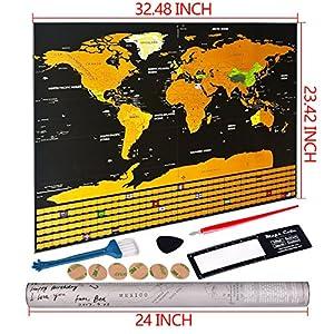 Mapa del Mundo,Mapamundi rascar travel edición ,Personalizada de Viaje Aventura Regalo para Viajero Decoración de Pared