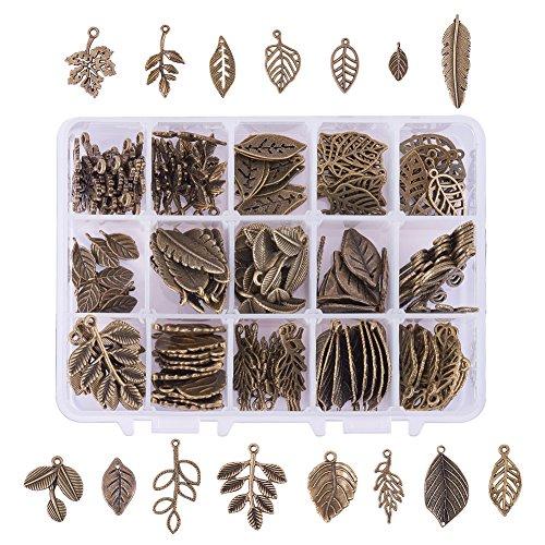 PandaHall Elite - Lot von 60pcs Charms Anhänger tibetischen Stil Legierung geformte Blätter für Schmuckherstellung, antike Bronze, 16~38x8~28x1~4 mm, Loch: 1~2,5 mm