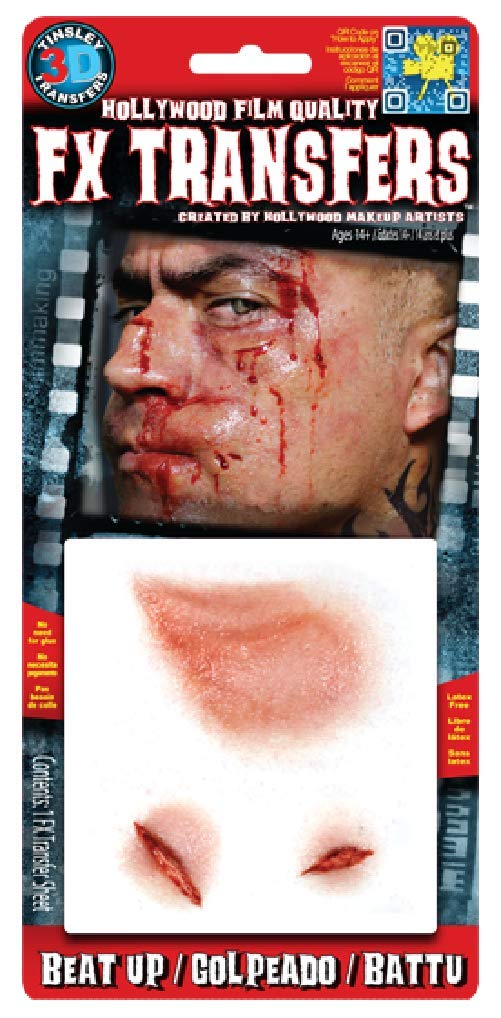 Fancy Me Erwachsene 3D Realistisch geschlagene Special FX Gore Blutige Wunden Bisse Narben Halloween Make-up Latexfrei…