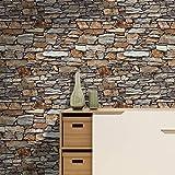 Keshj Stein 3D Wallpaper Roll Brown/Khaki Stein Für Wohnzimmer Schlafzimmer Küche Home Wandgestaltung Strukturiert-250Cmx175Cm