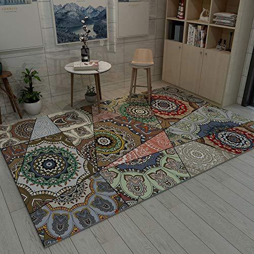 Einfacher nordischer italienischer leichter Luxus 180 * 280CM AG-007,Moderner Wohnzimmer Retro Baumwoll-Teppich mit Quaste Eingang Dünne Bodenmatte Handgewebt Teppichläufer rutschfest für Wohnzimmer