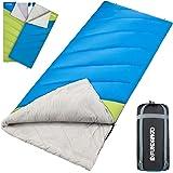 Fundango Doppelter Schlafsack King Size alle Saison 2-3 Person Wasserdichter Schlafsack mit 2 Kissen und Kompression Sack, großtig für Campen, Wandern, Reisen