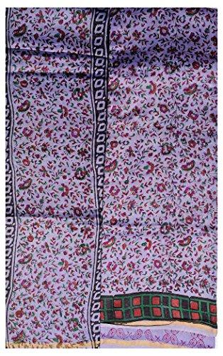 Exotic India Daybreak-Blue Chanderi Salwar Kameez Fabric with Block-Print - Blue