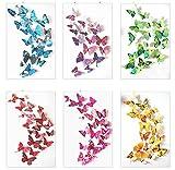 Haimoburg 72 Stück 3D Effekte Schmetterlinge Wanddeko Wandsticker Aufkleber 12st Blau +12st Lila +12st Grün +12st Gelb +12st Rosa +12st Rot