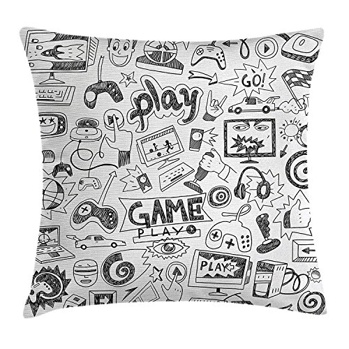 Video Games Pillow Case Monochrome Sketch Style Gaming Design Racing Monitor Device Gadget Teen 90\'s 18 X 18 Inches