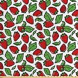 ABAKUHAUS Obst Stoff als Meterware, Saftige Erdbeeren