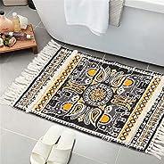Tufted Cotton Area Rug, KIMODE Hand Woven Print Tassels Throw Rugs Carpet Door Mat,Indoor Area Rugs for Bathro