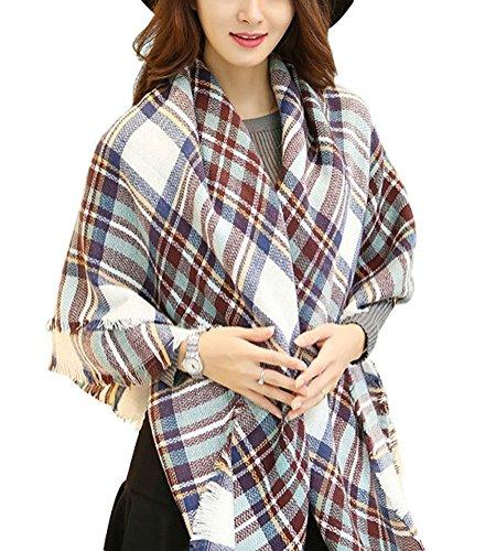 Minetom Femme Lady Chaud Hiver Plaid Foulard Châle Coton Mélange Foulards Longue Blanket Blanc