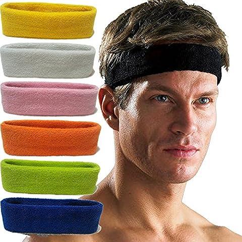 7 PCS Sports Thick Headbands for Men and Women Cotton and Fiber Yoga Headband by Fishidea by