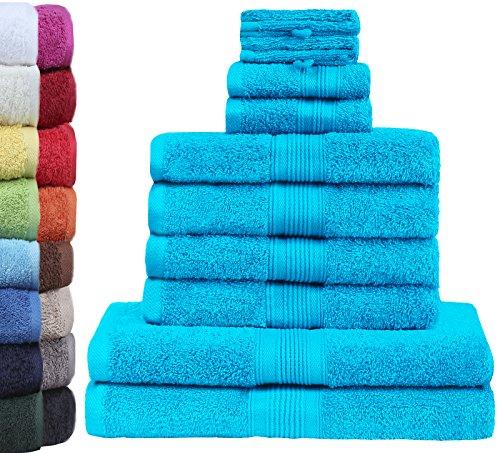 GREEN MARK Textilien 10 TLG. FROTTIER Handtuch-Set mit verschiedenen Größen 4X Handtücher, 2X Duschtücher, 2X Gästetücher, 2X Waschhandschuhe | Farbe: Türkis | Premium Qualität