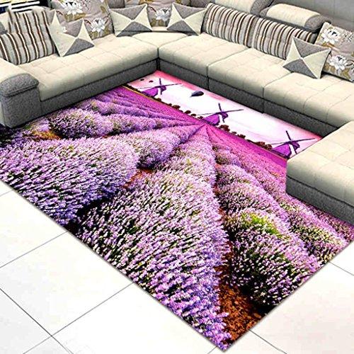 Home Store Area Teppich Teppich, Wohnzimmer Schlafzimmer Bedside Teppich - Pastoralen Stil Lila - Maschinenwaschbar - Rutschfest (Farbe : 1#, größe : 190 * 290cm) -