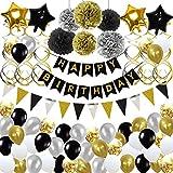 Toupons Anniversaire Décoration pour Hommes Femmes Or Noir Joyeux Anniversaire Bannière Guirlande Ballons pour 18ème 20ème 30ème 40ème 50ème 60ème 70ème Unisexe Décorations de Fête d'anniversaire Set