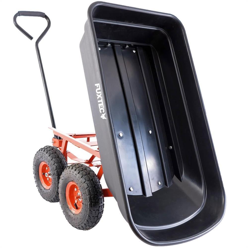 Fuxtec Kippwagen FX-KW2175 bis zu maximal 300kg Zuladung – max 150 kg bei gekippter Funktion, Transportwagen mit geschlossener Ladefläche ideal als Gartenkarre für ihre Geräte, inkl. großer Lufträder