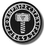 Thors martillo Triquetra runas–bordado parche, 6x 6cm