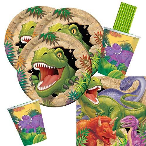 CC/Hobbyfun 40-teiliges Party-Set Dinosaurier - Dino - Alarm - Teller Becher Servietten Trinkhalme für 8 Kinder