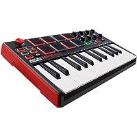 Akai Professional MPK Mini MKII Portables 25-Tasten-USB-MIDI-Keyboard mit 16 hintergrundbeleuchteten Performance-fähigen Pads, 8 zuweisbaren Q-Link-Reglern und 4-Wege-Daumen-Joystick, Rot
