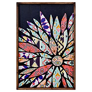 Febland Flower Patchwork Panel Wall Art-Right Aligned, Wood, Multi Colour, 4 x 60 x 90 cm