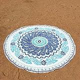 CYYCY Rundes Strandtuch Hawaii Style Wild Serviette blau Muster 160cm