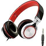 Honstek Kids Over Ear Headphones 3.5 mm Audio Jack (Schwarz/Rot)