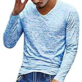 FIRSS Herren V Ausschnitt Shirt | Einfarbig Hemd | Gedruckt T-Shirt | Muscle Tops | Business Poloshirts | Slim Fit Sweatshirt | Casual Lose Langarmshirt