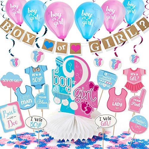 (ARTIT Gender Reveal Party Dekoration Zubehör Baby Dusch Schwangerschaft Ankündigungs Mädchen Oder Junge Banner Rosa Blaue Luftballons Hängende Folienspiralen Tischdecke Foto Requisiten Konfetti)