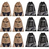 Yellow Weaves Shoe Pouch/Cover / Bag/Organizer, Beige & Black Color - Set of 12
