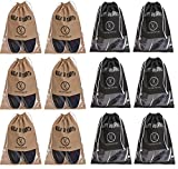 #6: Yellow Weaves™ Shoe Pouch/Cover/Bag/Organiser, Beige & Black Color - Set of 12