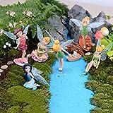 6Pcs Flower Fairy Pixie Fly Wing Family Miniature Flower Fairy Girls Dollhouse Garden Ornament Accessories