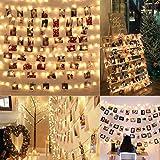 SanGlory 10M 100 LED Fotoclips Lichterketten für Zimmer Deko, LED Foto Lichterkette mit 50 Klammern für Fotos und Polaroids, Clip Bilder Lichterketten für innen, Haus, Weihnachten, Hochzeit (Warmweiß)