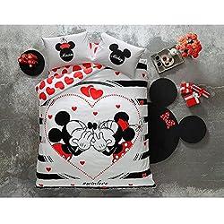 Disney Minnie & Mickey Día de San Valentín AMOUR SO IN LOVE Juego de funda nórdica, 100% algodón, tamaño doble, 4 piezas