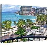 """LeeQueen Las Impresiones Sobre Lona Arte de la Pared - Waikiki Beach Honolulu Oahu Hawaii - Antecedentes Consejo de Madera Estirada Abrigo de la Lona Listo Para Colgar Para el Hogar y la Decoración de la Oficina - 24"""" x 16"""""""