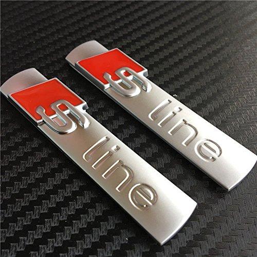 S Line Emblème Chrome Alliage badge Autocollant pour A1A4A5A6A8Argenté mat X 2