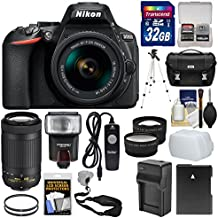 Nikon D5600 Wi-Fi Digital SLR Camera With 18-55mm VR & 70-300mm DX AF-P Lenses + 32GB Card + Case + Flash + Battery & Charger + Tripod + Tele/Wide Lens Kit