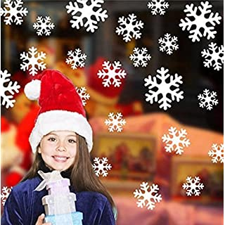 UChic 2Set White Red Snowflake Christmas Electrostatic Window Stickers Xmas Christmas Decoration Window Decoring Wall Decal Posters