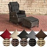 CLP Polyrattan-Sessel BRENO mit Sitzpolster und Fußhocker I Relaxsessel mit Verstellbarer Rückenlehne I In verschiedenen Farben erhältlich Bezugfarbe: Anthrazit, Rattanfarbe: Grau-meliert