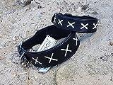 Hundehalsband Leder Halsband extra BREIT Ziertich Schwarz Weiss M L XL Mittel bis großer Hund Tysons genäht (M)