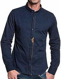 BLZ jeans - Chemise homme chic cintrée navy et marron à motifs