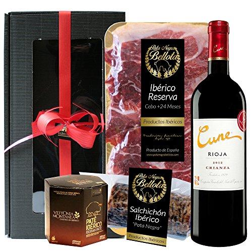 Geschenkkorb- Präsentkorb Spanien Tapas Ibéricas, Iberische produkte, rotwein Cune Crianza Rioja