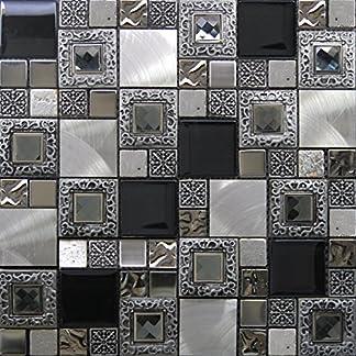 Mosaico de Vidrio y Aluminio en Malla LGX-Diamante, Gris, 8 mm, 30 x 30 cm