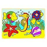 Goki 57857 - Steckpuzzle - Seepferdchen, Muschel