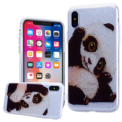 WE LOVE CASE Coque iPhone X, Souple Gel Coque iPhone X Silicone Paillette Glitter Brillant Motif Fine Coque Girly Resistante, Coque de Protection Bumper Coque Apple iPhone X Unicorn Cloud Fille