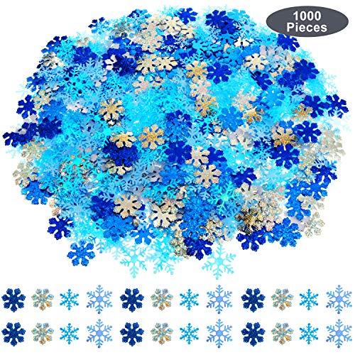 WILLBOND 1000 Stück Weihnachten Funkeln Schneeflocken Konfetti Weiß und Blau Winter Fenster Kuchen Tisch Konfetti Schnee Schneeflocken Dekoration für Weihnachten Hochzeit Geburtstag Urlaub Dekoration